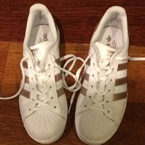 Adidas Superstar Women's White and Gold